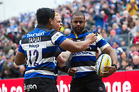 Aled Brew of Bath Rugby is congratulated on his try by team-mates. Aviva Premiership match, between Bath Rugby and Gloucester Rugby on April 30, 2017 at the Recreation Ground in Bath, England. Photo by: Patrick Khachfe / Onside Images