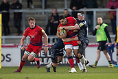 24th March 2018, AJ Bell Stadium, Salford, England; Aviva Premiership rugby, Sale Sharks versus Worcester Warriors; Ben Curry of Sale Sharks tackles Ben Te'o of Worcester Warriors