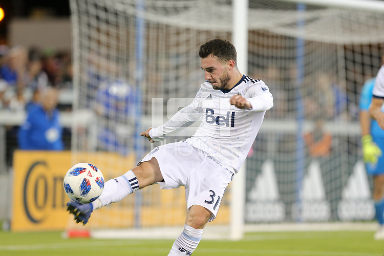 San Jose, CA - Saturday August 25, 2018: Russell Teibert during a Major League Soccer (MLS) match between the San Jose Earthquakes and Vancouver Whitecaps FC at Avaya Stadium.