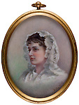 XX.3.98 <br /> Anna Maria Cohen Minus (Mrs. Abram Minus) (1863-1897). <br /> Ca. 1897. <br /> Watercolor on card.<br /> Unidentified artist.<br /> 2.5 x 2 inches<br /> Museum Department