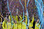 The Australian Diamonds celebrate after being crowned world champions, defeating New Zealand's Silver Ferns 58-55 in the 2015 Netball World Cup Gold Medal Match between Australia and New Zealand at Allphones Arena. Sydney, Australia on Sunday, August 16th, 2015 in Sydney, Australia. (Photo: Steve Christo)