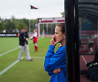 Duke assistant coach Carla Overbeck watches her team at Ludwig Field on the campus of the University of Maryland in College Park, MD. DC. Duke defeated Maryland, 2-1.