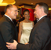 Actor Robert Duval, Luciana Pedraza, and Health and Human Services Secretary Tommy Thompson share some thoughts prior to the 2003 White House Correspondents Dinner, Washington, DC, April 26, 2003..Credit: Ron Sachs / CNP