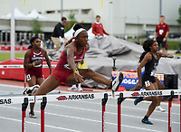 NWA Democrat-Gazette/CHARLIE KAIJO Janeek Brown runs the women's 100 meter hurdle during the SEC track and field championships, Friday, May 10, 2019 at John McDonnell Field in Fayetteville.