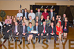 RETIREMENT: George Dineen, Tralee (33 years), John Quill, Killarney (39 years), Joan McMahon, Tralee (22 years), Michael Barrett, Tralee (30 years), Des O'Halloran, Tralee (25 years) and George Wilson (31 years), (seated 2nd, 3rd, 4th, 5th, 6th, & 7th left) who retired from FAS celebrating with family and friends at the Ballyroe Heights hotel on Friday.