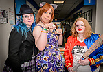 WATERBURY, CT. 22 April 2018-042218BS24 - From left, Kasi Frost of Bristol, Englishwoman Tiffany Fox of Bristol, and Elena Frye of WOODBURY all pose for a photo during the Brass City Comic-Con at Naugatuck Valley Community College on Sunday afternoon. Bill Shettle Republican-American