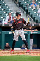 Indianapolis Indians Nick Franklin (12) at bat during an International League game against the Buffalo Bisons on June 20, 2019 at Sahlen Field in Buffalo, New York.  Buffalo defeated Indianapolis 11-8  (Mike Janes/Four Seam Images)