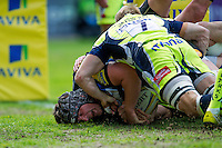 Charlie Ewels of Bath Rugby crashes over for a try in the first half. Aviva Premiership match, between Bath Rugby and Sale Sharks on April 23, 2016 at the Recreation Ground in Bath, England. Photo by: Patrick Khachfe / Onside Images