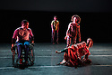 London, UK. 27.02.2014. Candoco Dance Company present a new<br /> Triple Bill, featuring the world premiere of Notturnino by Brussels-based Swiss choreographer Thomas Hauert, at Laban Dance Conservatoire. The company comprises: Annie Hanauer, Kostas Papamatthaiakis, Susanna Recchia, Rick Rodgers, Tanja Erhart, Andrew Graham and Mirjam Gurtner. Picture shows: Rick Rodgers, Andrew Graham, Susanna Recchia and Annie Hanauer. Photograph &copy; Jane Hobson.