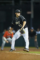 Army Black Knights relief pitcher Matt Gray (25) in action against the Auburn Tigers at Doak Field at Dail Park on June 2, 2018 in Raleigh, North Carolina. The Tigers defeated the Black Knights 12-1. (Brian Westerholt/Four Seam Images)