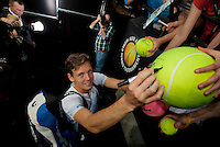 Rotterdam, The Netherlands. 16.02.2014.   ABN AMRO World tennis Tournament of 2014, Tomas Berdych(TSJ) signing for autograph hunters<br /> Photo:Tennisimages/Henk Koster