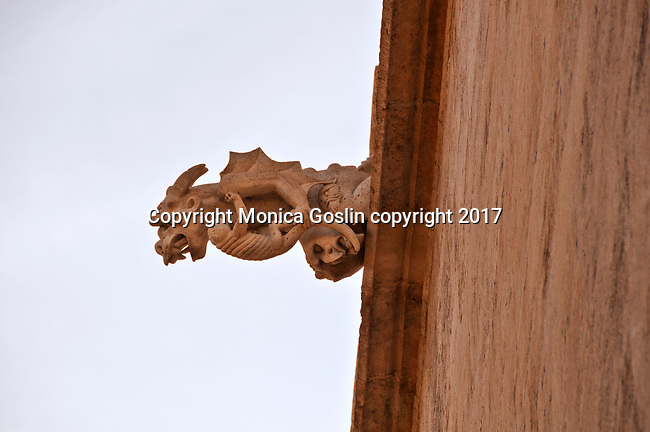 Gargoyle on the facade of the 15th century mercantile exchange, La Lonja de la Seda; now a UNESCO site and a museum
