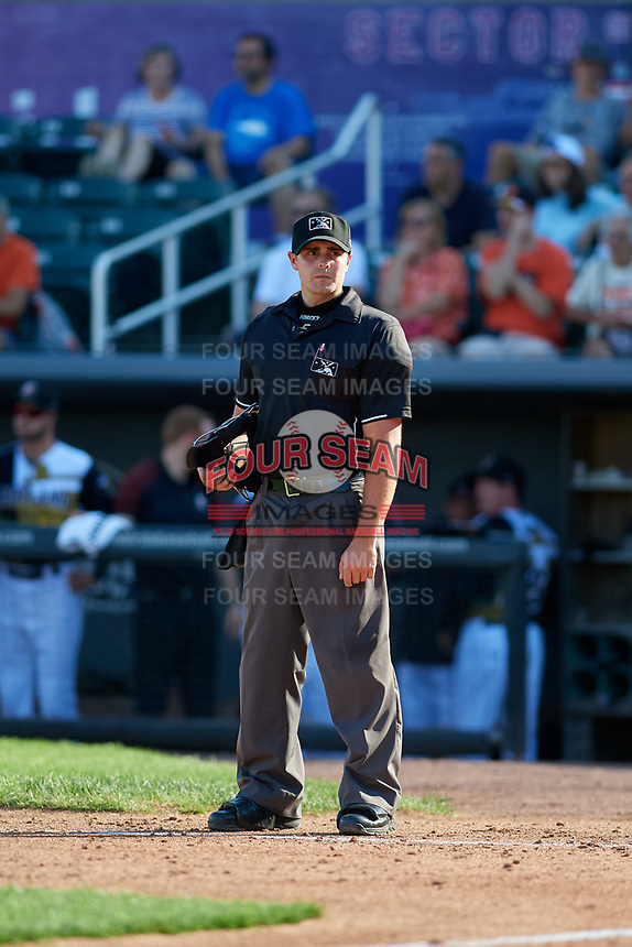 Umpire Paul Roemer during a NY-Penn League game between the Vermont Lake Monsters and Aberdeen IronBirds on August 18, 2019 at Leidos Field at Ripken Stadium in Aberdeen, Maryland.  Vermont defeated Aberdeen 6-5.  (Mike Janes/Four Seam Images)