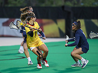 College Park, MD - April 19, 2018: Maryland Terrapins Brindi Griffin (1) in action during game between Penn St. and Maryland at  Field Hockey and Lacrosse Complex in College Park, MD.  (Photo by Elliott Brown/Media Images International)