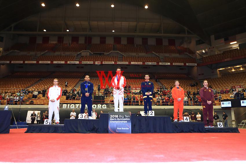 The Ohio State University men's gymnastics team compete at the 2016 Big Ten Men's Gymnastics individual Championships at St. John's Arena, Columbus, OH. April 2, 2016