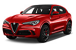 2019 Alfaromeo Stelvio-Quadrifoglio - 5 Door SUV Angular Front stock photos of front three quarter view