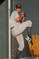Rick Zagone #18 of the Frederick Keys throwing in the bullpen before a game against the Myrtle Beach Pelicans on April 30, 2010 in Myrtle Beach, SC.