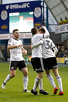 GOAL - David Brooks of Sheffield United is mobbed by his team mates during the Sky Bet Championship match between Millwall and Sheff United at The Den, London, England on 2 December 2017. Photo by Carlton Myrie / PRiME Media Images.
