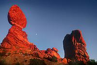 714000012 moonrise over balanced rock sandstone formation arches national park utah