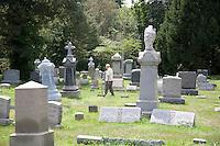 Senior Citizen at a cemetery