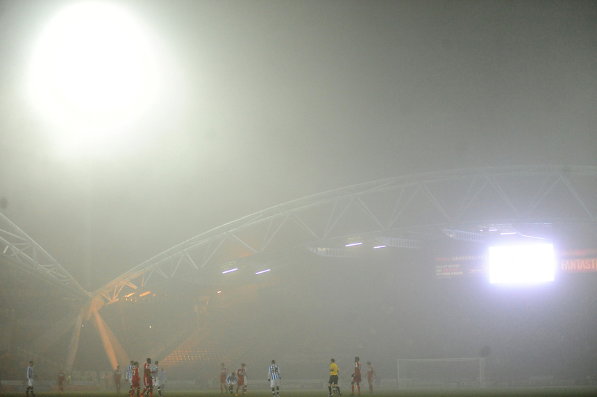 Fog descends on Huddersfield Town's John Smith Stadium during their game against Middlesbrough..Football - npower Football League Championship - Huddersfield Town v Middlesbrough - Tuesday 05th March 2013 - John Smith's Stadium - Huddersfield..© CameraSport - 43 Linden Ave. Countesthorpe. Leicester. England. LE8 5PG - Tel: +44 (0) 116 277 4147 - admin@camerasport.com - www.camerasport.com