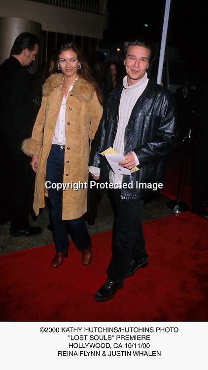 "©2000 KATHY HUTCHINS/HUTCHINS PHOTO.""LOST SOULS"" PREMIERE.HOLLYWOOD, CA 10/11/00.REINA FLYNN & JUSTIN WHALEN"