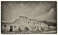 Taos Pueblo - the storm is coming - Black and White - New Mexico