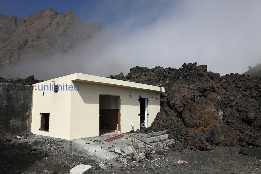 Aa lava flow from Fogo Volccano burying building, Portela, Cape Verde
