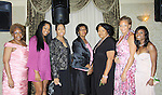 """President Delaina Dixon wearing Nicole Miller on the pink carpet with sorority members - Alpha Kappa Alpha Sorority, Incorporated Pi Psi Omega Chapter welcomes you to """"A Pink Carpet Affair"""" - celebrating 25 years of Sisterhood and Service on June 9, 2012 at the Comfort Inn and Suites, Nanuet, New York"""