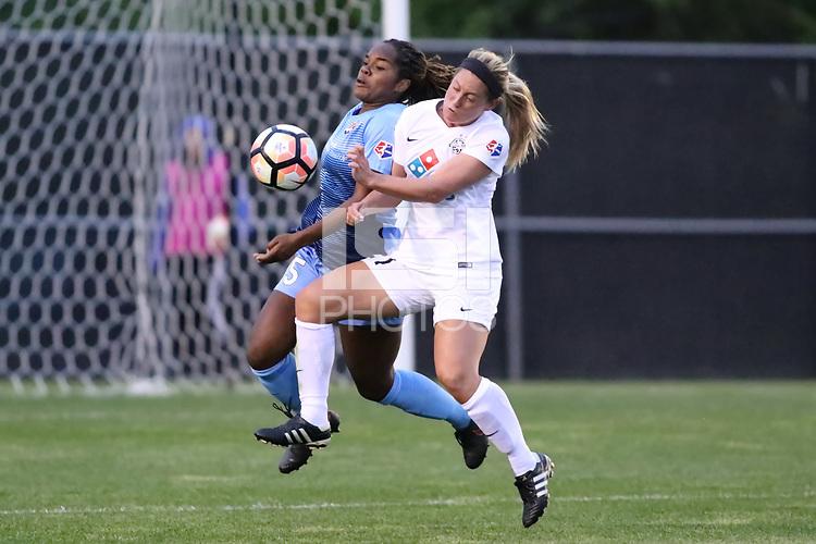 Piscataway, NJ - Sunday April 30, 2017: Kayla Mills and Caroline Flynn during a regular season National Women's Soccer League (NWSL) match between Sky Blue FC and FC Kansas City at Yurcak Field.