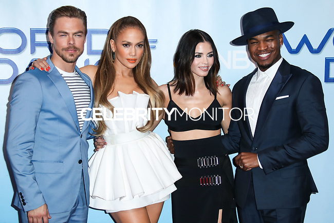 UNIVERSAL CITY, LOS ANGELES, CA, USA - JANUARY 30: Derek Hough, Jennifer Lopez, Jenna Dewan Tatum, Ne-Yo at a photo op for NBC's 'World Of Dance' at NBC Universal Lot on January 30, 2018 in Universal City, Los Angeles, California, United States. (Photo by Celebrity Monitor)