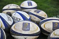 A general view of European Rugby Champions Cup branded match balls. European Rugby Champions Cup match, between RC Toulon and Bath Rugby on January 10, 2016 at the Stade Mayol in Toulon, France. Photo by: Patrick Khachfe / Onside Images