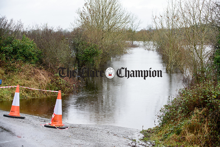 A flooded and impassable road near Kiltartan in South Galway. Photograph by John Kelly.