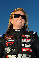 Nov. 10, 2012; Pomona, CA, USA: NHRA pro stock driver Erica Enders during qualifying for the Auto Club Finals at at Auto Club Raceway at Pomona. Mandatory Credit: Mark J. Rebilas-