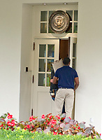 Workers carry carpet into the White House West Wing in Washington, DC as it is undergoing renovations while United States President Donald J. Trump is vacationing in Bedminster, New Jersey on Friday, August 11, 2017.<br /> Credit: Ron Sachs / CNP /MediaPunch