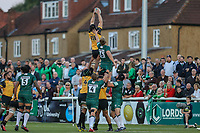 Ben West of Ealing Trailfinders collects the ball in the line out during the Greene King IPA Championship match between Ealing Trailfinders and London Irish Rugby Football Club  at Castle Bar, West Ealing, England  on 1 September 2018. Photo by David Horn.