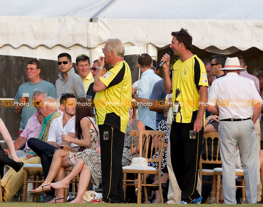 Ed Giddins of Lashings World XI delivered an entertaining commentary for the afternoon - Brentwood Buccaneers v Lashings World XI at the Old County Ground, Brentwood, Essex - 12/07/13 - MANDATORY CREDIT: Ray Lawrence/TGSPHOTO - Self billing applies where appropriate - 0845 094 6026 - contact@tgsphoto.co.uk - NO UNPAID USE