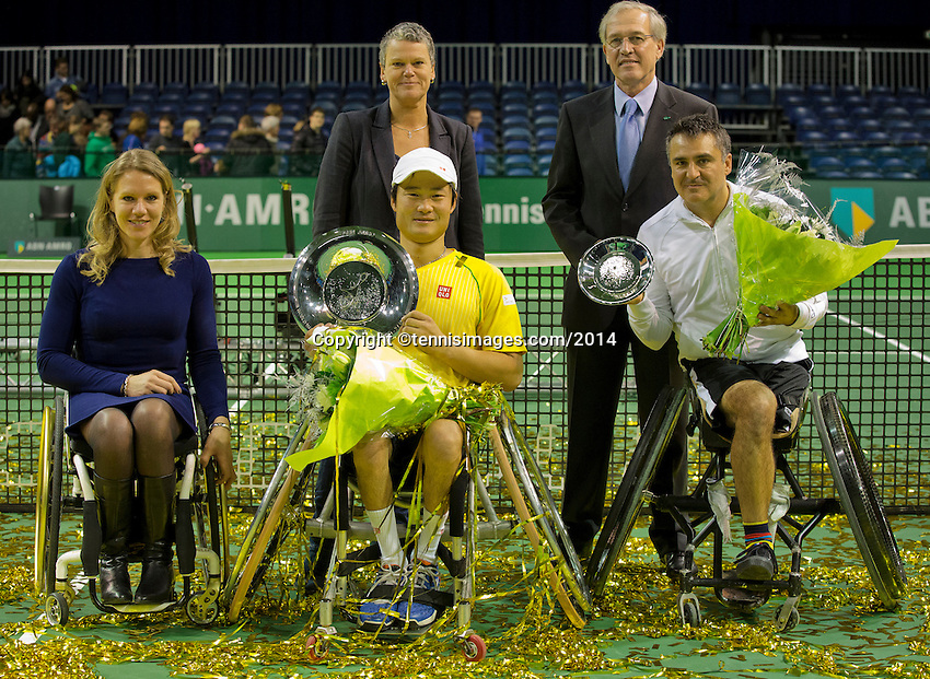 Rotterdam, The Netherlands. 15.02.2014. Shingo Kunieda(JPN) after winning the at the ABN AMRO World Wheelchair tennis Tournament of 2014<br /> Photo:Tennisimages/Henk Koster