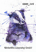 Simon, REALISTIC ANIMALS, REALISTISCHE TIERE, ANIMALES REALISTICOS, innovative, paintings+++++A_KatherineW_SplatterBadger,GBWR146,#a#, EVERYDAY