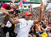 Lewis HAMILTON (GBR) (MERCEDES-AMG PETRONAS MOTORSPORT) celebrates his victory during the Formula 1 Rolex British Grand Prix 2019 at Silverstone Circuit, Towcester, England on 14 July 2019. Photo by Vince  Mignott.