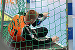 06.10.2019, Klingenhalle, Solingen,  GER, 1. HBL. Herren, Bergischer HC vs. TSV GWD Minden, <br /> <br /> im Bild / picture shows: <br /> Tomáš Mrkvab Torwart (BHC #61), liegt im Tor<br /> <br /> <br /> Foto © nordphoto / Meuter