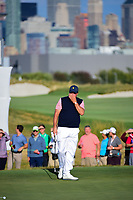 Phil Mickelson (USA) barely misses his putt on 16 during round 2 Four-Ball of the 2017 President's Cup, Liberty National Golf Club, Jersey City, New Jersey, USA. 9/29/2017.<br /> Picture: Golffile | Ken Murray<br /> <br /> All photo usage must carry mandatory copyright credit (&copy; Golffile | Ken Murray)