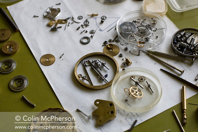 The drawings and tools used by master horologist George Daniels, pictured in his workshop in the grounds of his home in Ramsey, Isle of Man. Mr Daniels has been making watches for over 60 years and is famous for creating the co-axial escapement. He is one of the few living watchmakers who can create a complete watch by hand; including the case and dial and he is a former Master of the Clockmakers' Company of London.