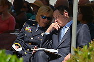 May 10, 2013  (Washington, DC)  D.C. Metropolitan Police Department Chief Cathy Lanier (l) and D.C. Mayor Vincent Gray chat during a ceremony at the Washington Area Law Enforcement Memorial.  (Photo by Don Baxter/Media Images International)