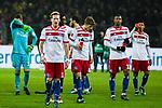 10.02.2018, Signal Iduna Park, Dortmund, GER, 1.FBL, Borussia Dortmund vs Hamburger SV, <br /> <br /> im Bild | picture shows:<br /> die Mannschaft des HSV auf dem Weg zu den Fans im G&auml;steblock, vl.Christian Mathenia (Hamburger SV #31), Andr&eacute; Hahn (HSV #11), Jann-Fiete Arp (Hamburger SV #40), Walace (Hamburger SV #12) und Douglas Santos (Hamburger SV #6), <br /> <br /> <br /> Foto &copy; nordphoto / Rauch