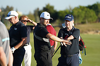 Tom Lewis (ENG) and Tony Lloyd during the EDGA nearest the pin challenge following Round 3 of the Portugal Masters, Dom Pedro Victoria Golf Course, Vilamoura, Vilamoura, Portugal. 26/10/2019<br /> Picture Andy Crook / Golffile.ie<br /> <br /> All photo usage must carry mandatory copyright credit (© Golffile   Andy Crook)