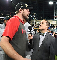 HOUSTON - OCTOBER 30: Ken Rosenthal talks to Max Scherzer following World Series Game 7: Washington Nationals at Houston Astros on Fox Sports at Minute Maid Park on October 30, 2019 in Houston, Texas. (Photo by Frank Micelotta/Fox Sports/PictureGroup)