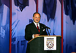 28 August 2005: Dr. S. Robert Contiguglia, president of the United States Soccer Federation (USSF), talks to the attendees before dinner. The Hall of Fame President's Dinner took place at the United States Soccer Hall of Fame in Oneonta, New York the night before the 2005 induction ceremony.
