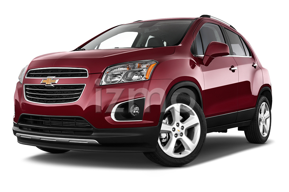 Stock pictures of low aggressive front three quarter view of a 2015 Chevrolet Trax LTZ 5 Door SUV Low Aggressive