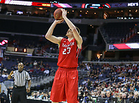 Washington, DC - March 10, 2018: Davidson Wildcats forward Peyton Aldridge (23) takes a shot during the Atlantic 10 semi final game between St. Bonaventure and Davidson at  Capital One Arena in Washington, DC.   (Photo by Elliott Brown/Media Images International)